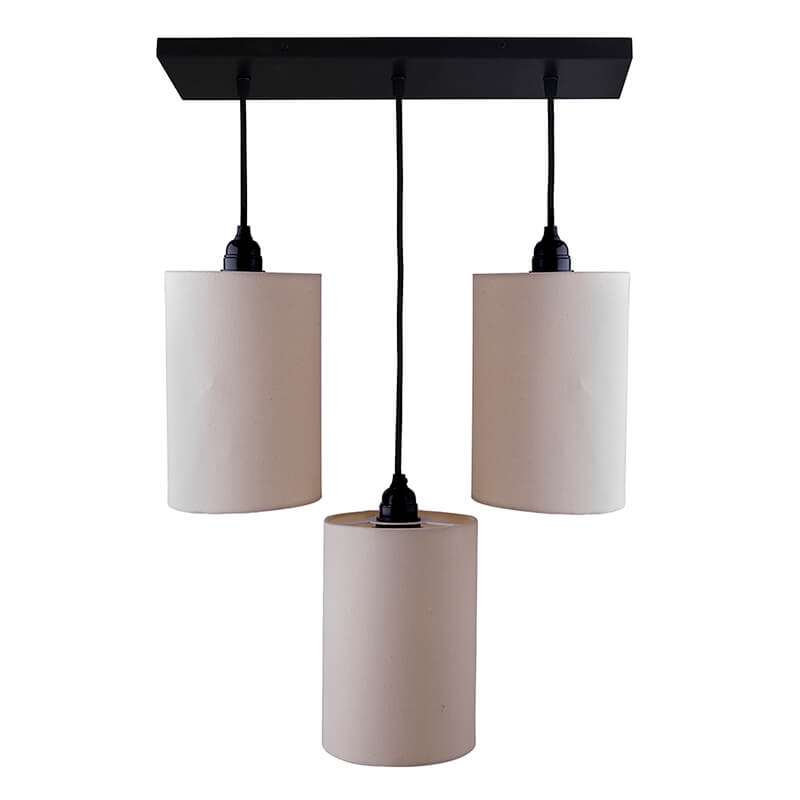 3-Lights Linear Cluster Chandelier Beige Shade Hanging Pendant Light, Kitchen Area and Dining Room Light