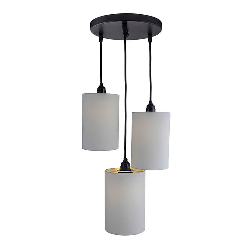 3-Lights Round Cluster Chandelier White Shade Hanging Pendant Light with Braided Cord