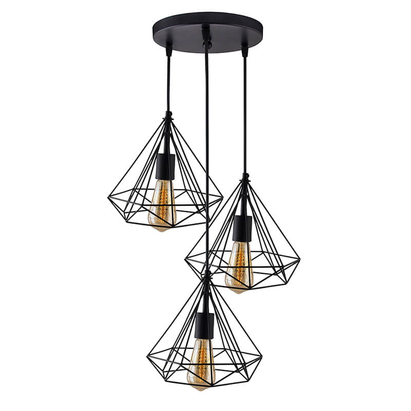 3-Lights Round Cluster Chandelier Black Diamond Hanging Pendant Light with Braided Cord