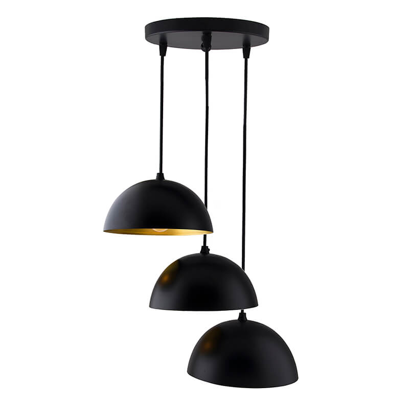 """3-Lights Round Cluster Chandelier Black 8"""" Pendant Hanging Pendant Light with Braided Cord"""