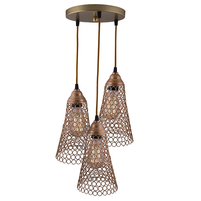 3-Lights Round Cluster Chandelier Golden Cone Hanging Pendant Light with Braided Cord