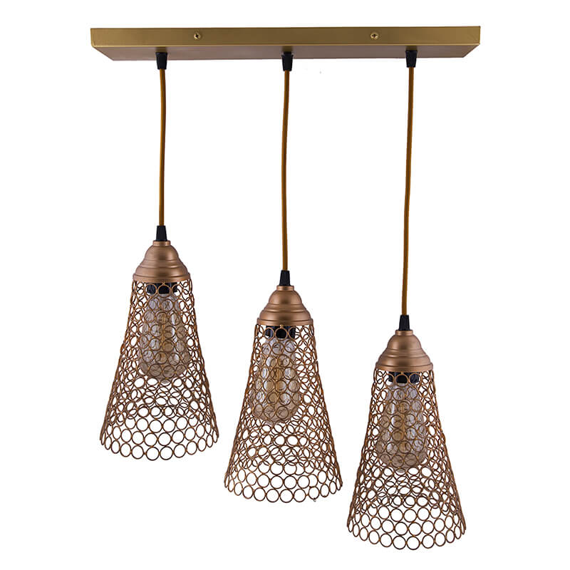 3-Lights Linear Cluster Chandelier Golden Cone Hanging Pendant Light, Kitchen Area and Dining Room Light