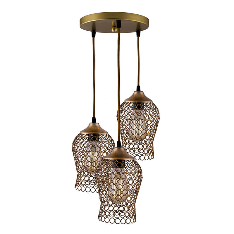 3-Lights Round Cluster Chandelier Golden Chimney Hanging Pendant Light with Braided Cord