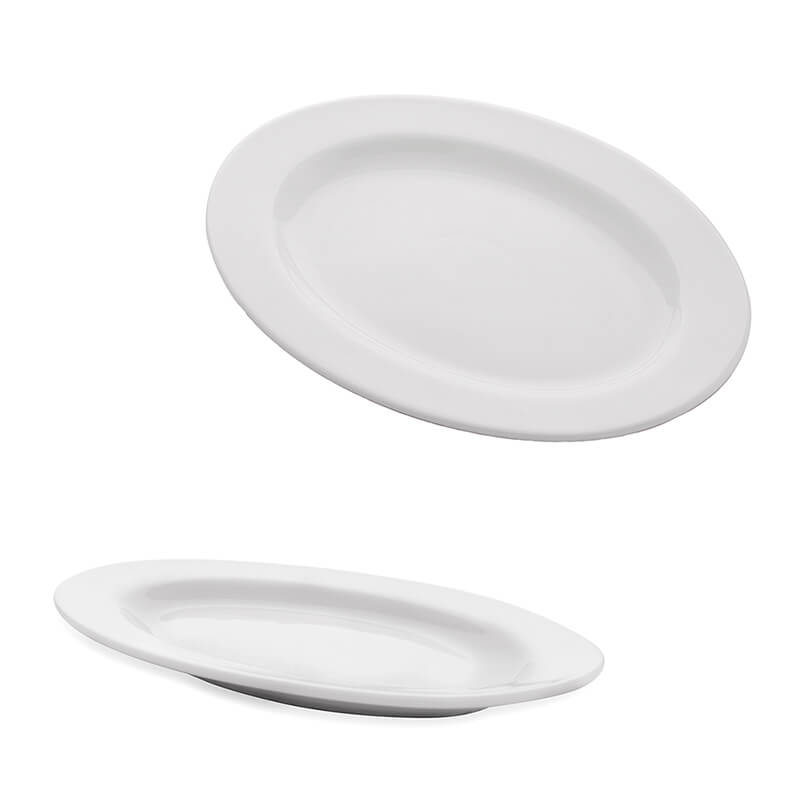 White Fine Porcelain Oval Serving Platter, Set of 2, Bone China for Snacks, Fruits