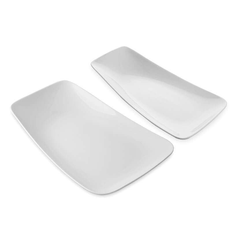 White Fine Porcelain Serving Rectangle Boat Platter, Set of 2, White Serving Tray for Chips, Nachos, Pasta