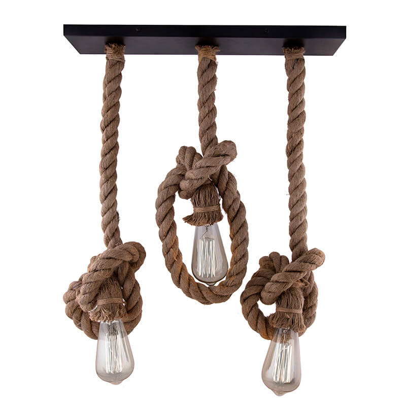 3-Lights Linear Cluster Chandelier Edison Rustic Rope Hanging Pendant Light, Kitchen Area and Dining Room Light