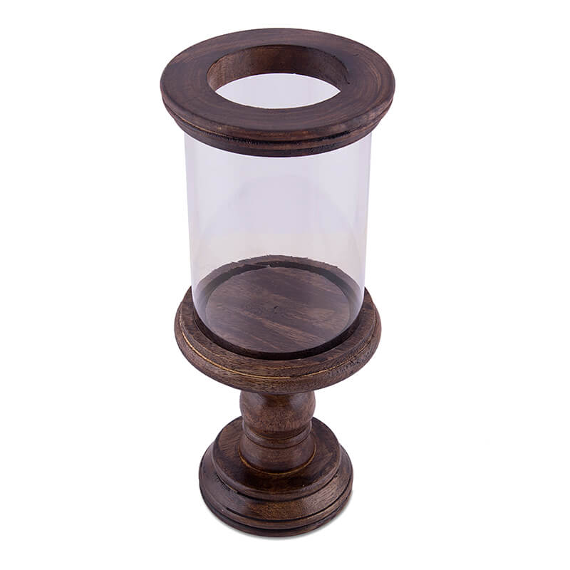 Classic Cubist Hurricane, Walnut Finish Wooden Candle Holder with Glass Chimney