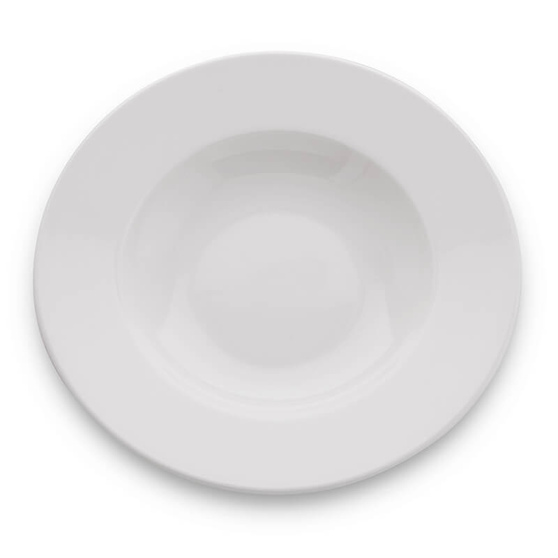 White Fine Porcelain Soup Plate, Bone China for Pasta, Gravy, Serving
