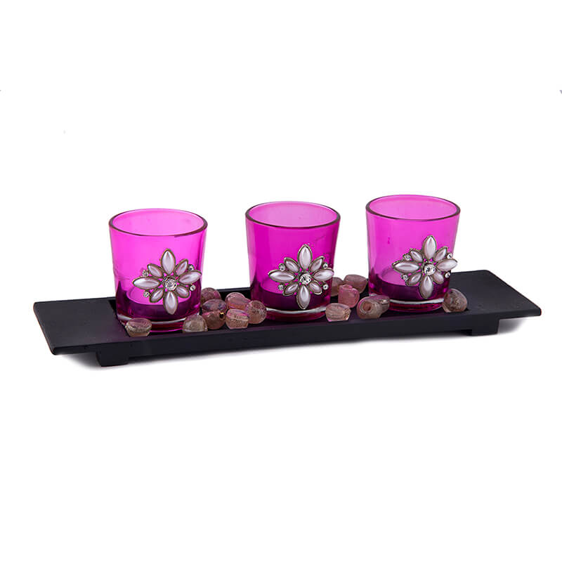 Pearl Votive with Wood Tray Pink, Glass Candle Holder Stand with Tea Light, Table Decoration