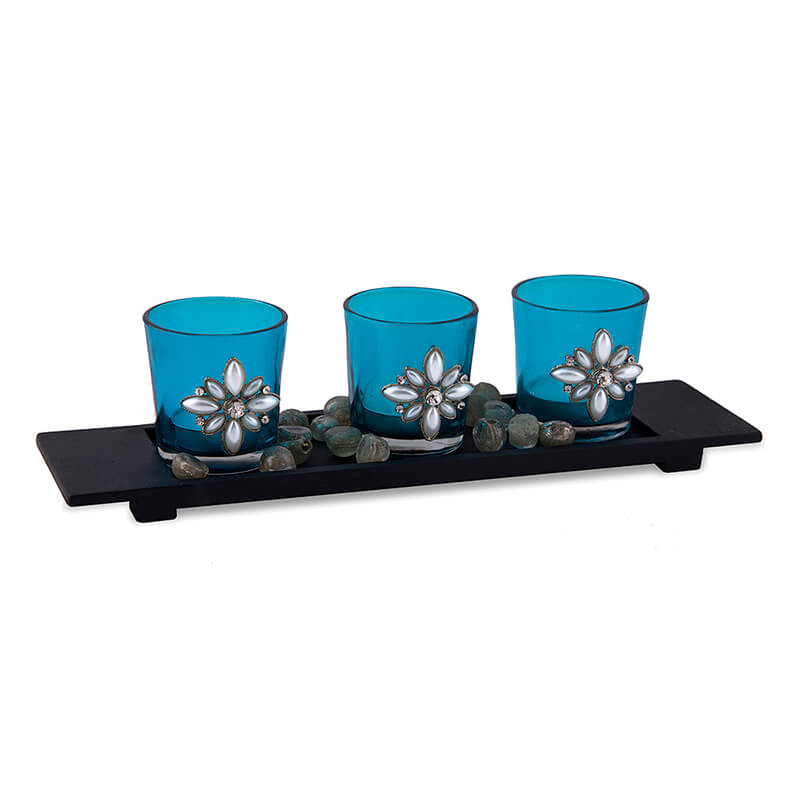 Pearl Votive with Wood Tray Turquoise, Glass Candle Holder Stand with Tea Light, Table Decoration