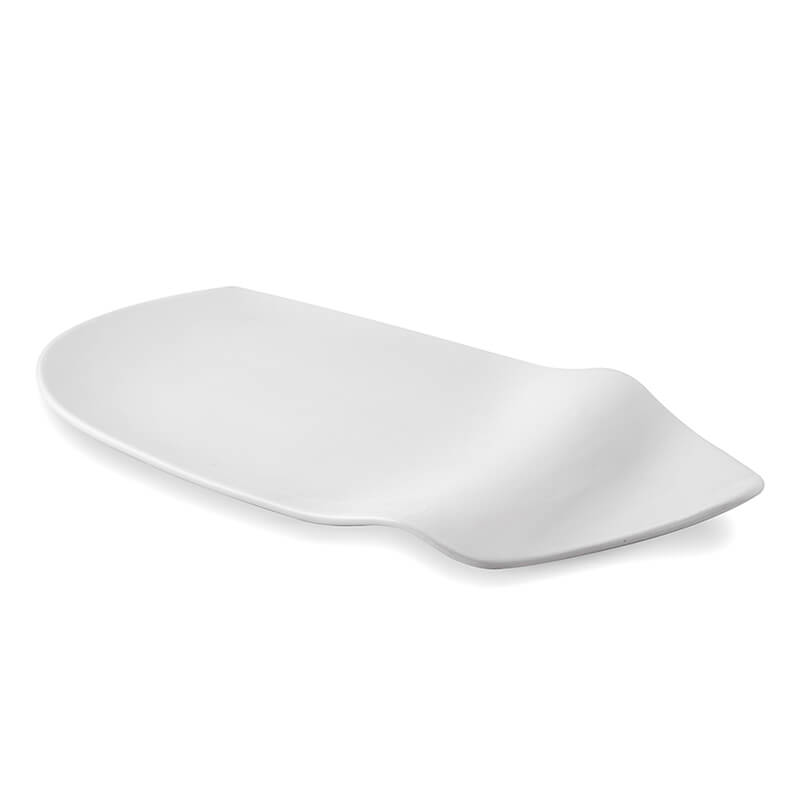 White Fine Porcelain Serving Wavy Platter, White Serving Tray for Chips, Nachos, Chip and Dip