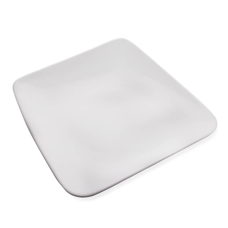"White Fine Porcelain Serving Square Platter 10"", White Serving Tray for Chips, Nachos, Pasta"