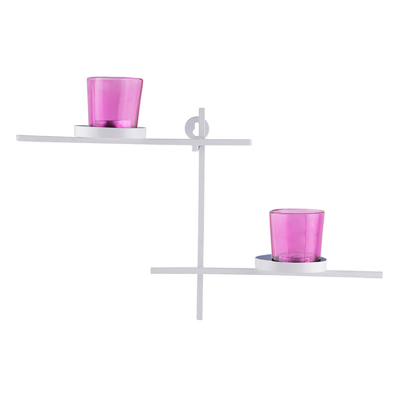 White Scorching Ladder with Pair of Votive Pink, Wall Hanging Candle Holder