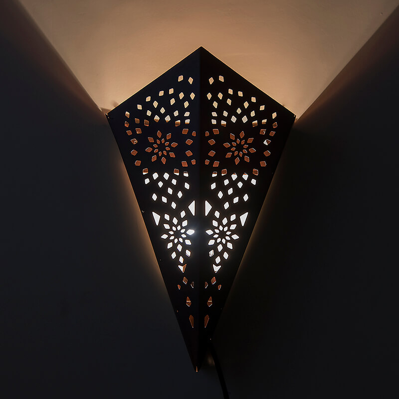 Moroccan Cone Wall Lamp, Antique Copper Finish