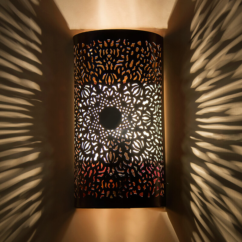 Moroccan Filgree Wall Lamp, Antique Copper Finish