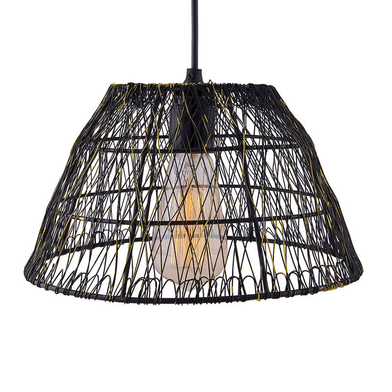 Metal Wire Mesh Lamp Shade Hanging Light, Ceiling Pendant Light, E27 Antique Black
