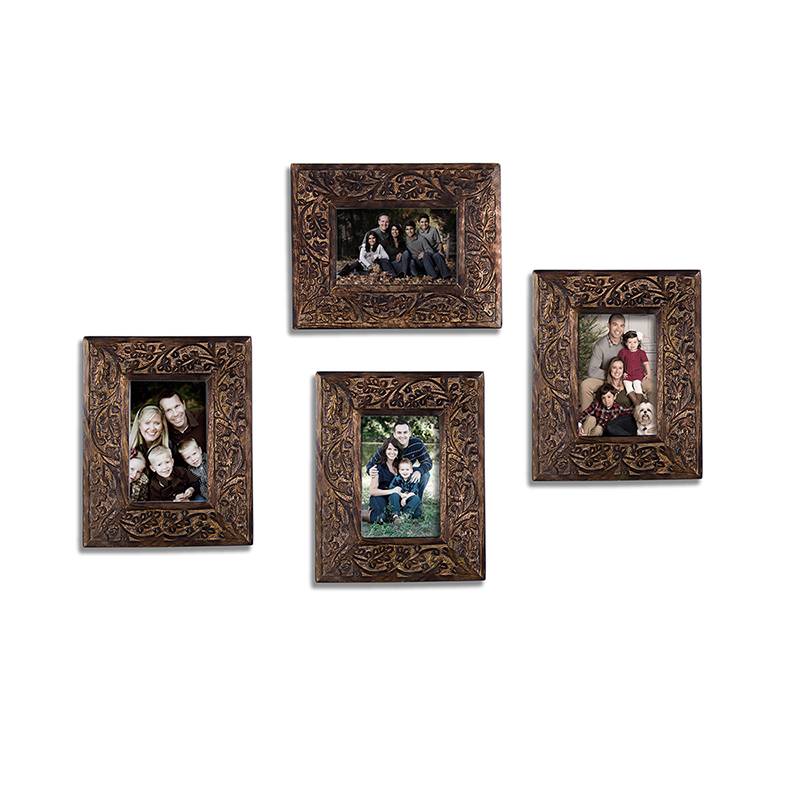 Multi Picture Rustic Vintage Black Floral Carving Wooden Collage Photo Frame, Home and Wall Decorations Set, Designer Picture Frames, Gallery Wall Frame Set