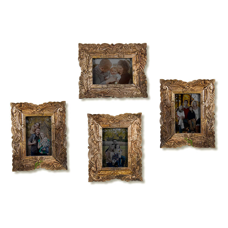 Multi Picture Wooden Carved Flower Photo Frame, Home and Wall Decorations Set, Designer Picture Frames, Gallery Wall Frame Set