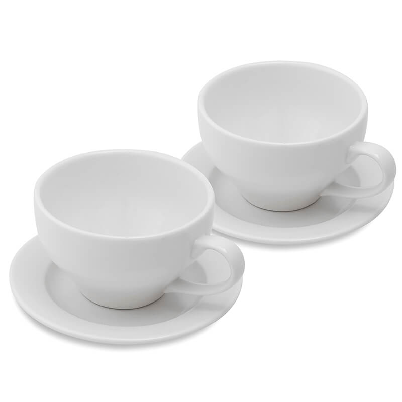 Porcelain 240 ML Cups & Saucers Set of 2, Tea, Coffee White Morning Mug