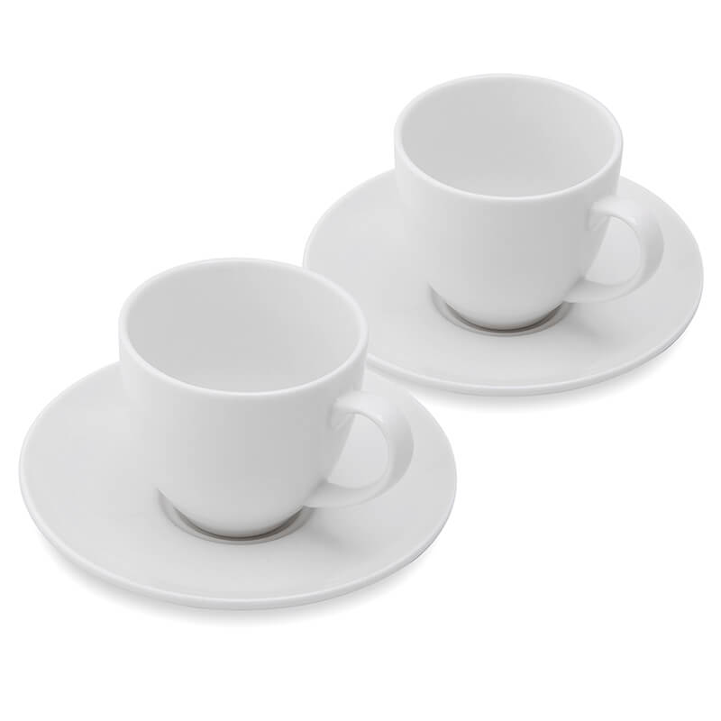 Porcelain 210 ML Cups & Saucers Set of 2, Tea, Coffee White Morning Mug