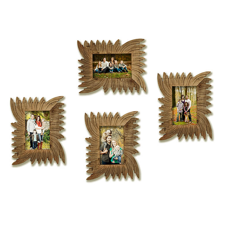 Multi Picture Vintage Natural Wooden Photo Frame, Home and Wall Decorations Set, Designer Picture Frames, Gallery Wall Frame Set