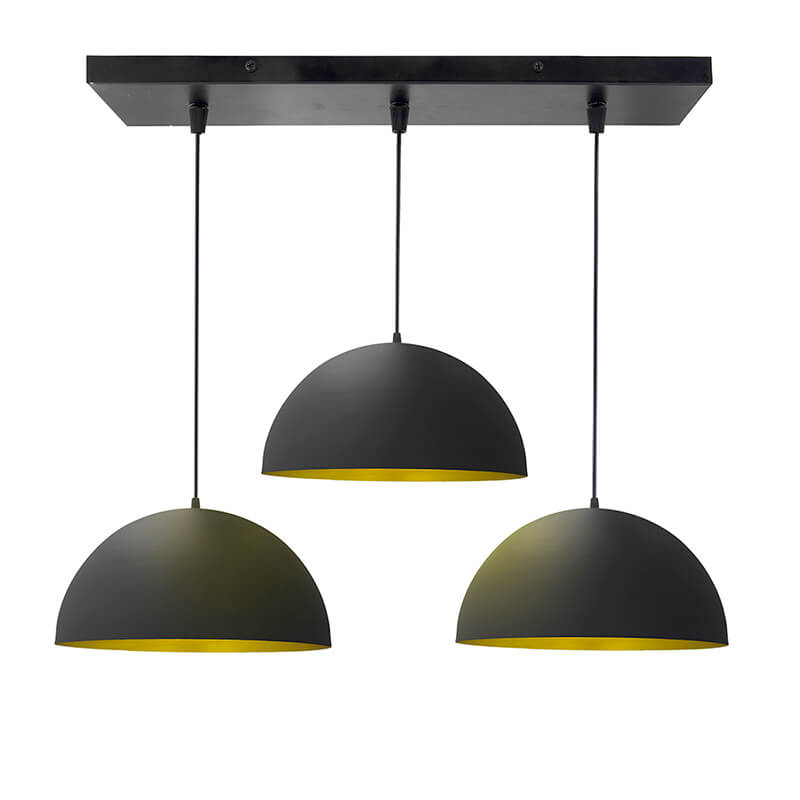 "3-lights Linear Cluster Chandelier Black 10"" Pendant Hanging Pendant Light, Kitchen Area and Dining Room Light"