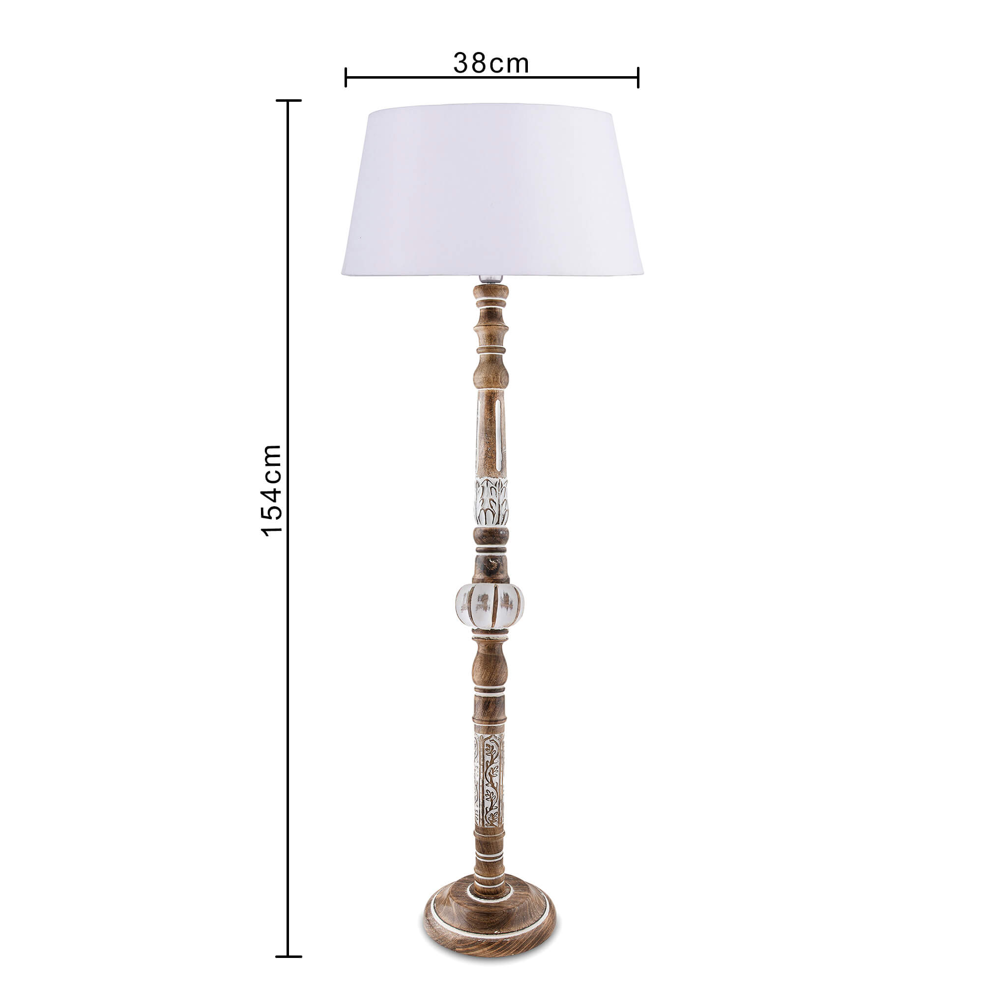 Royal Carving Antique White Finish Wooden Floor Lamp with White Shade