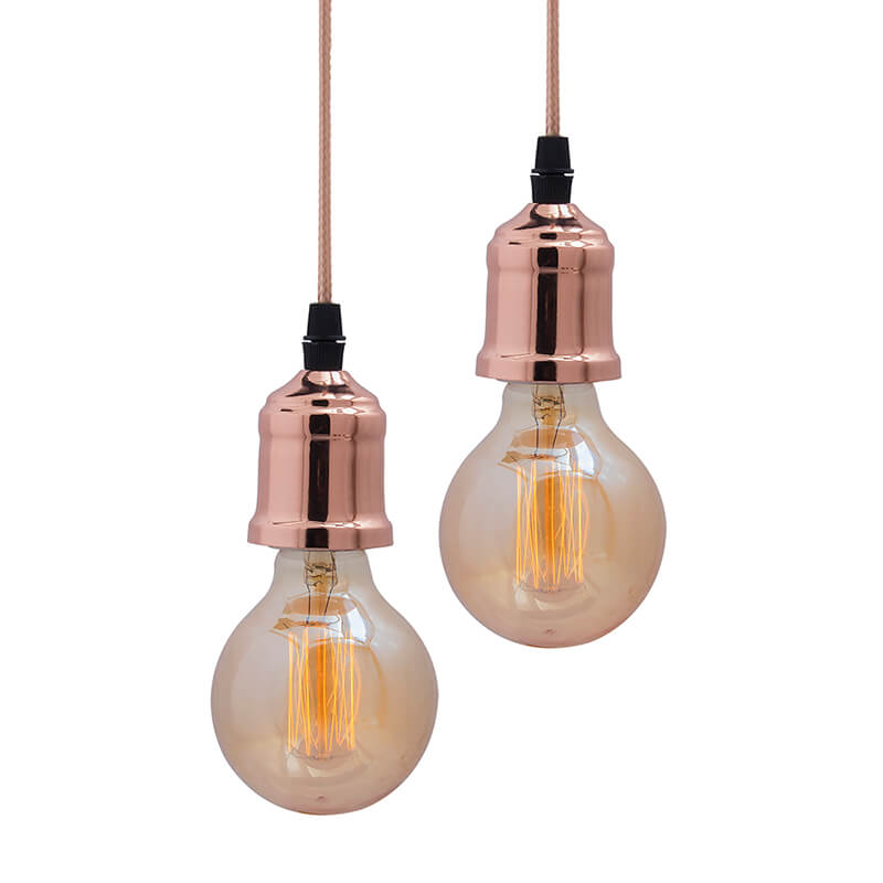 Edison Filament Metallic Copper Bulb Holder, Urban, Retro, Nordic style, With Fixture, Rose Gold, Set of 2