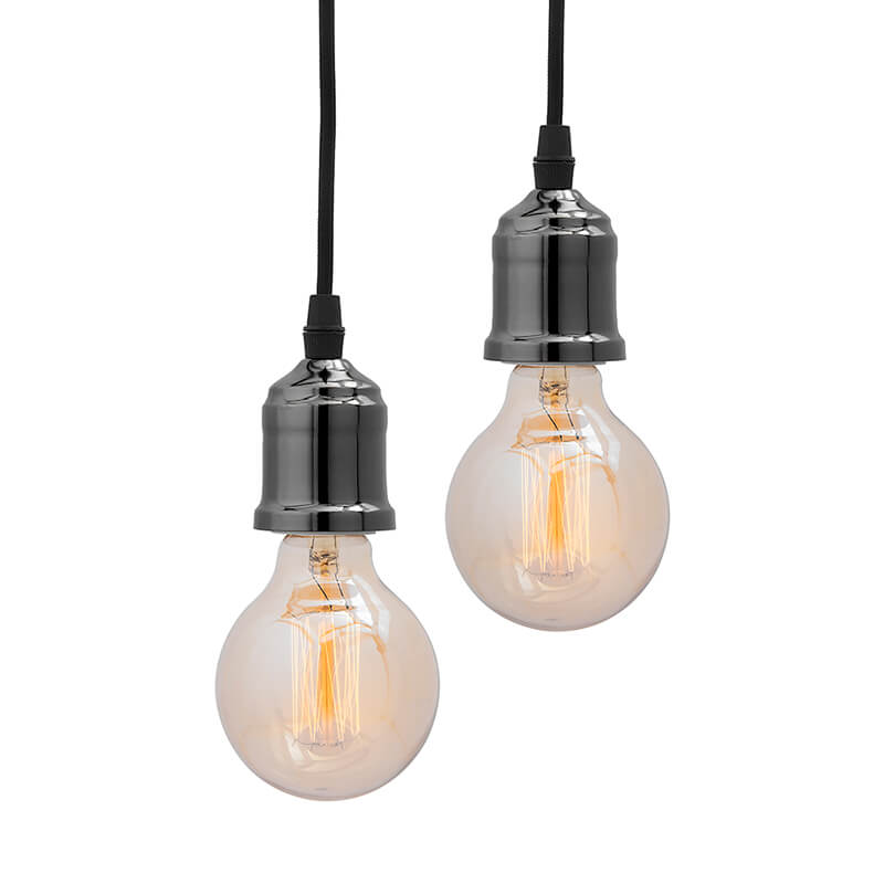 Edison Filament Metallic Black Bronze Bulb Holder, Urban, Retro, Nordic Style, With Fixture, Set of 2