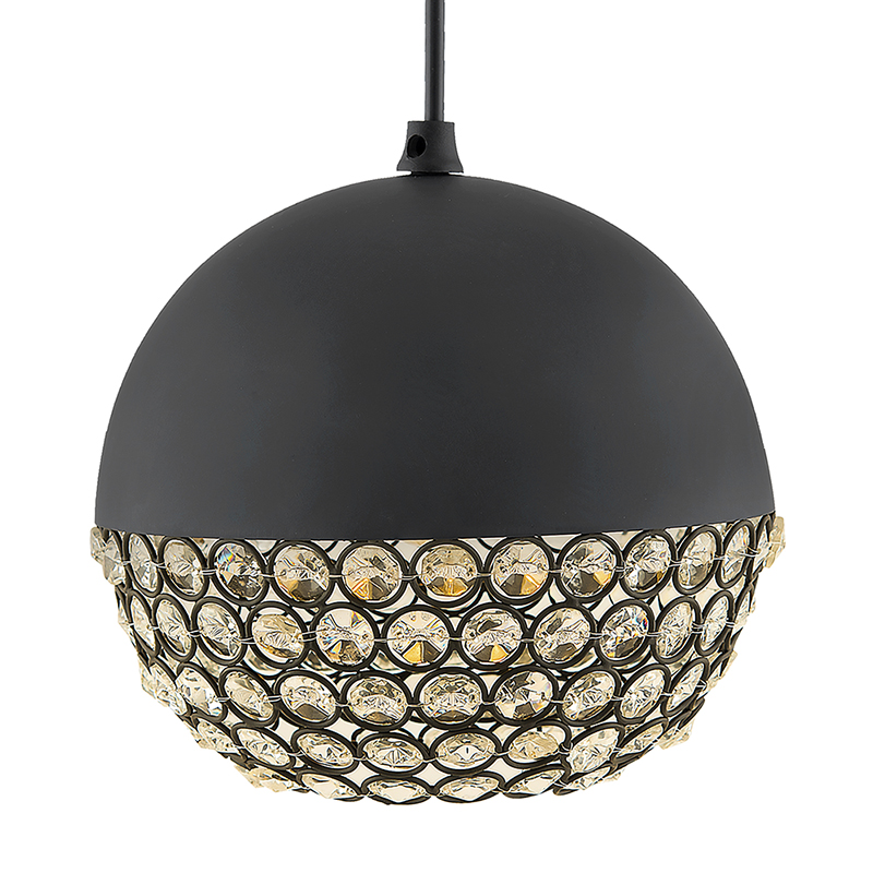 Matt Black Crystal Hanging Globe Light, Ceiling Light, Nordic E27 Pendant