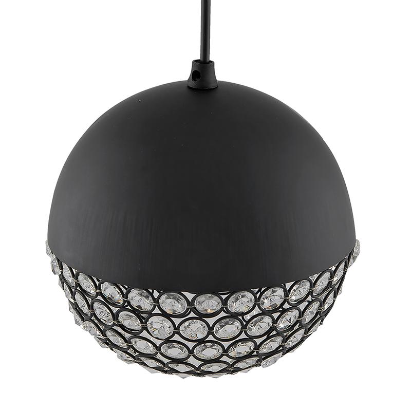 Matt Black Crystal Hanging Globe Light, Ceiling Light, Nordic E27 Pendant