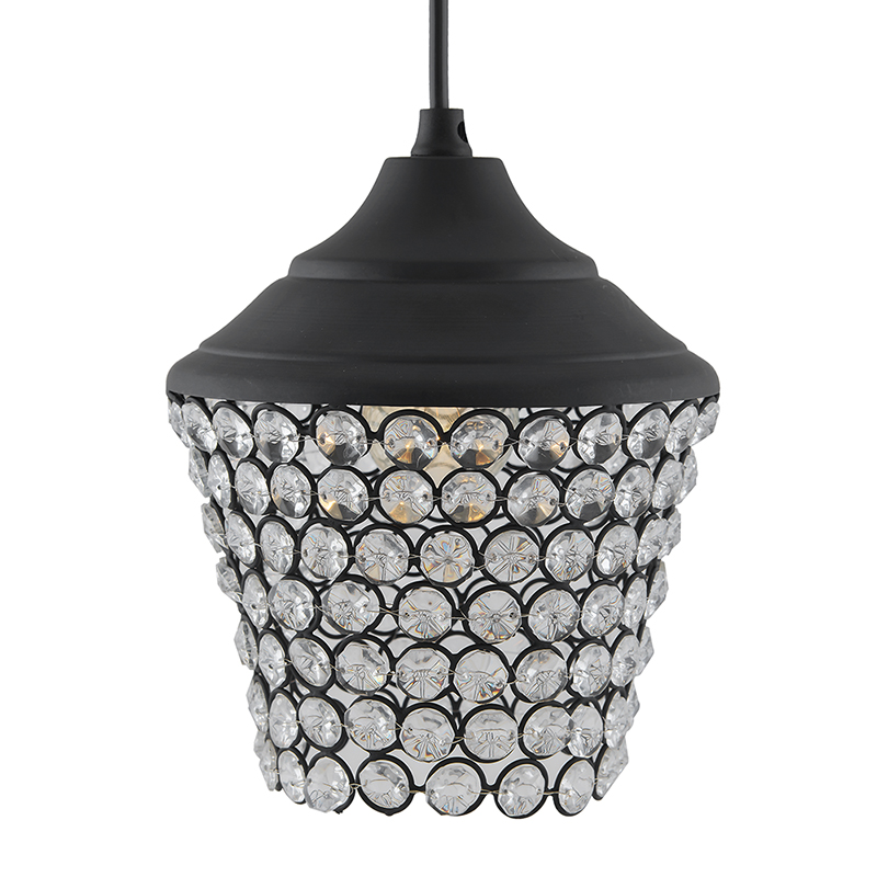 Matt Black Crystal Hanging Lantern Light, Ceiling Light, Nordic E27 Pendant