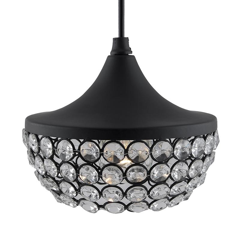 Matt Black Crystal Hanging Goblet Light, Ceiling Light, Nordic E27 Pendant