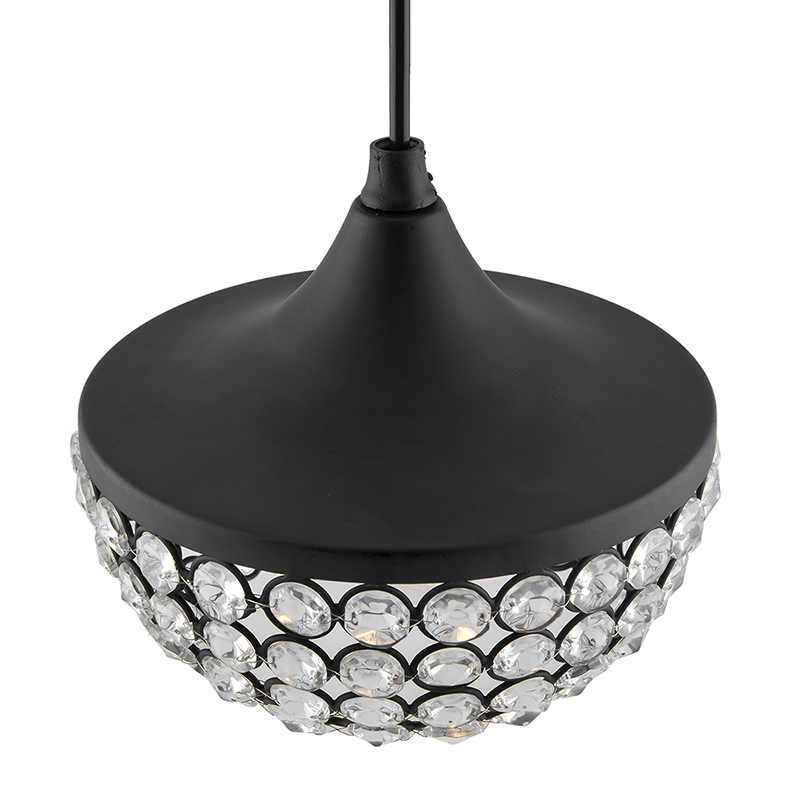 Matt Black Crystal Hanging Goblet Light, Ceiling Light, Nordic E27 Pendant