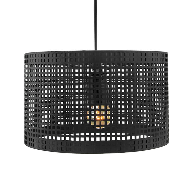 Hanging Metal Lamp Shade with Deco Cube Pattern, Matt Black Pendant Light, E27