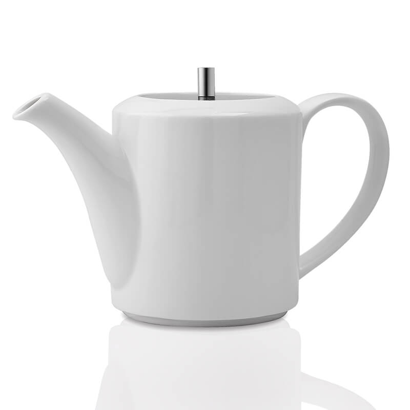 White Fine Porcelain Ancient Spring Tea Kettle with Steel Lid, Bone China Pot for Morning Tea, Coffee, Drink