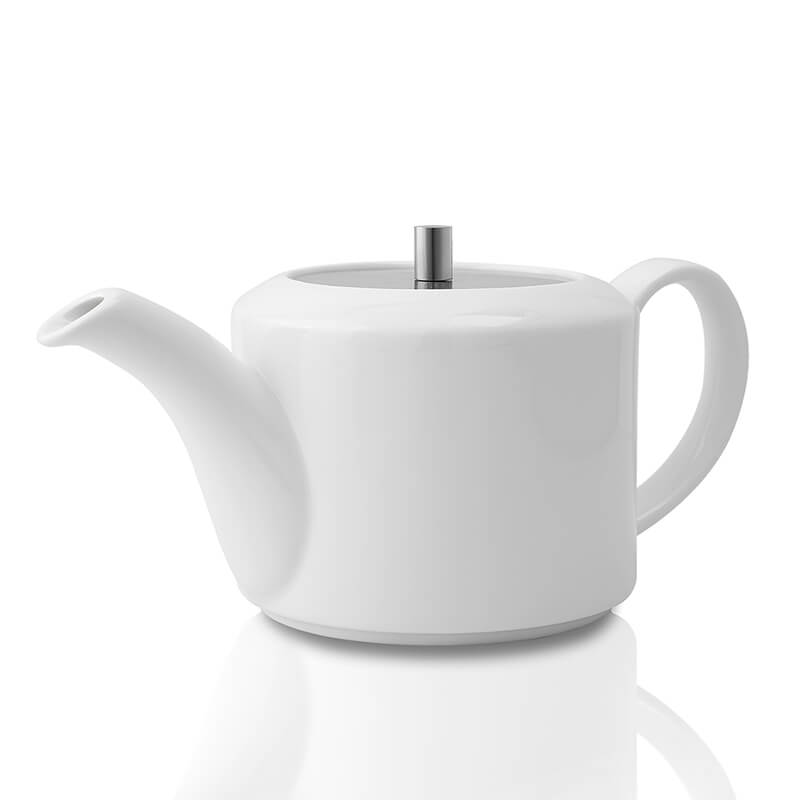 White Fine Porcelain Patches Small Tea Kettle with Steel Lid, Bone China Pot for Morning Tea, Coffee, Drink
