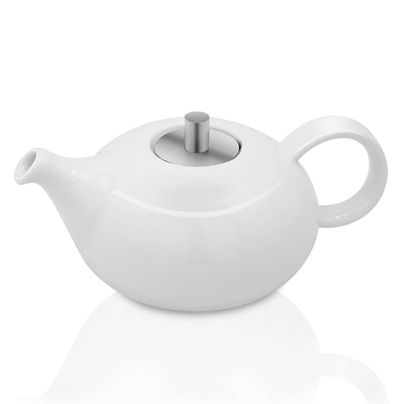White Fine Porcelain Round Pearl Tea Kettle with Steel Lid, Bone China Pot for Morning Tea, Coffee, Drink