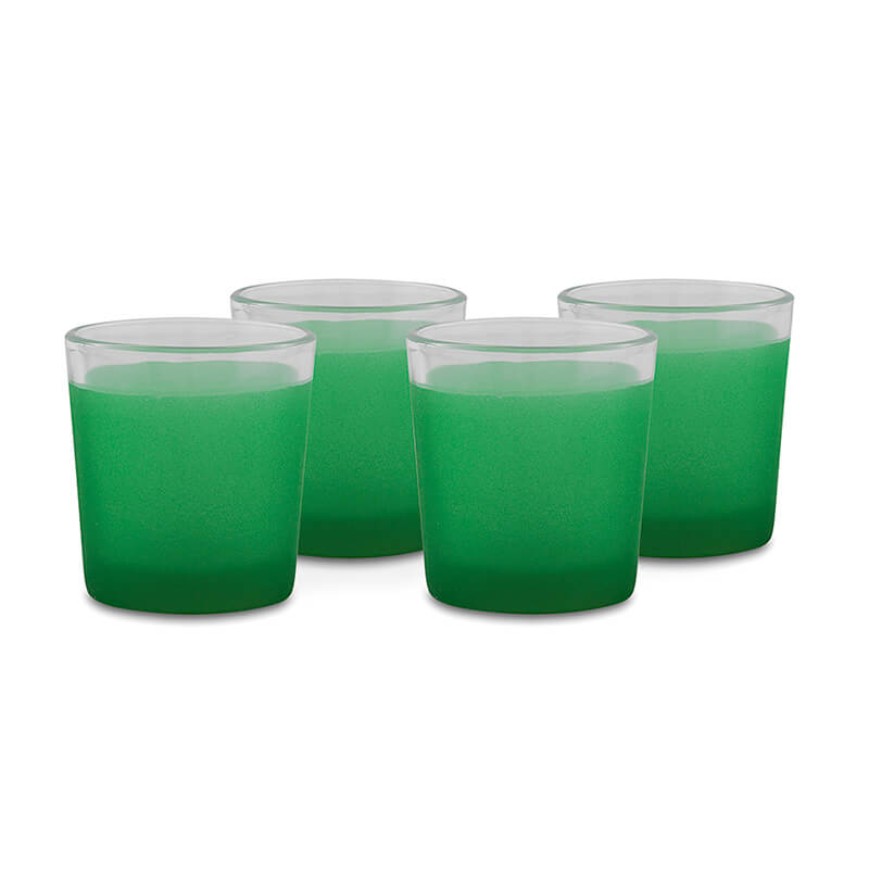 Frost Green Votive, Set of 4, Glass Candle Holder Stand with Free Candle