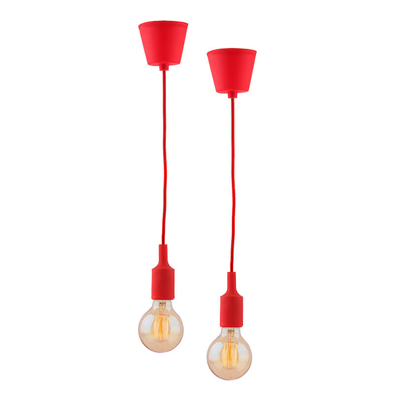 2pcs E27 Socket Chandelier Lamp Light Fixture, Red Hanging Silicone Holder Adjustable Modern Pendant Ceiling Lamp