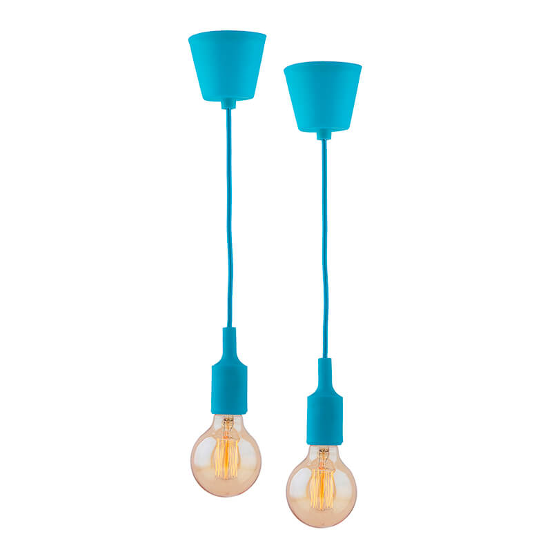 2pcs E27 Socket Chandelier Lamp Light Fixture, Blue Hanging Silicone Holder Adjustable Modern Pendant Ceiling Lamp