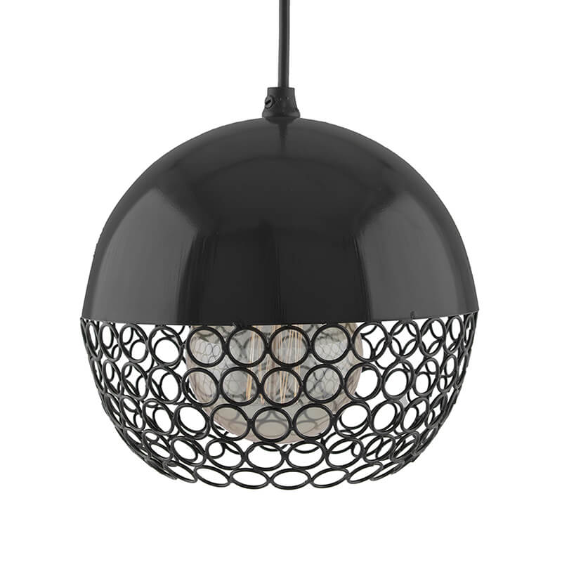 Glossy Black Hanging Globe Light, Ceiling Light, Nordic E27 Pendant