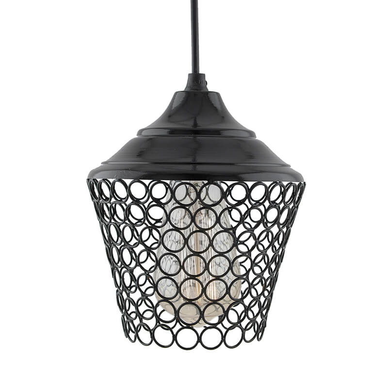 Glossy Black Hanging Lantern Light, Ceiling Light, Nordic E27 Pendant