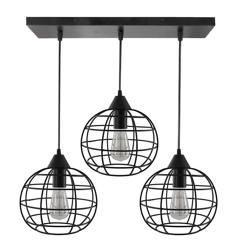 3-Lights Linear Cluster Chandelier Hanging Classic Sphere Pendant Light, Kitchen Area and Dining Room Light