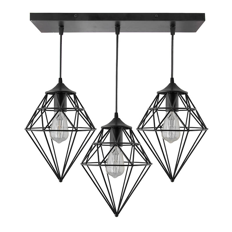 3-Lights Linear Cluster Chandelier Hanging Classic Gem Pendant Light, Kitchen Area and Dining Room Light