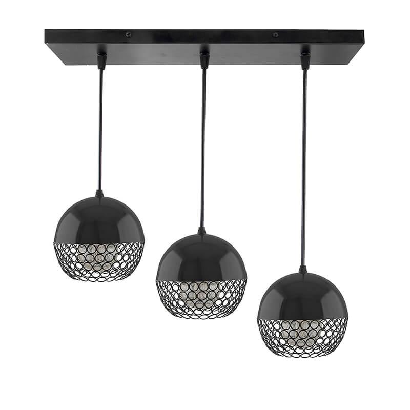 3-Lights Linear Cluster Chandelier Hanging Globe Hanging Pendant Light, Kitchen Area and Dining Room Light