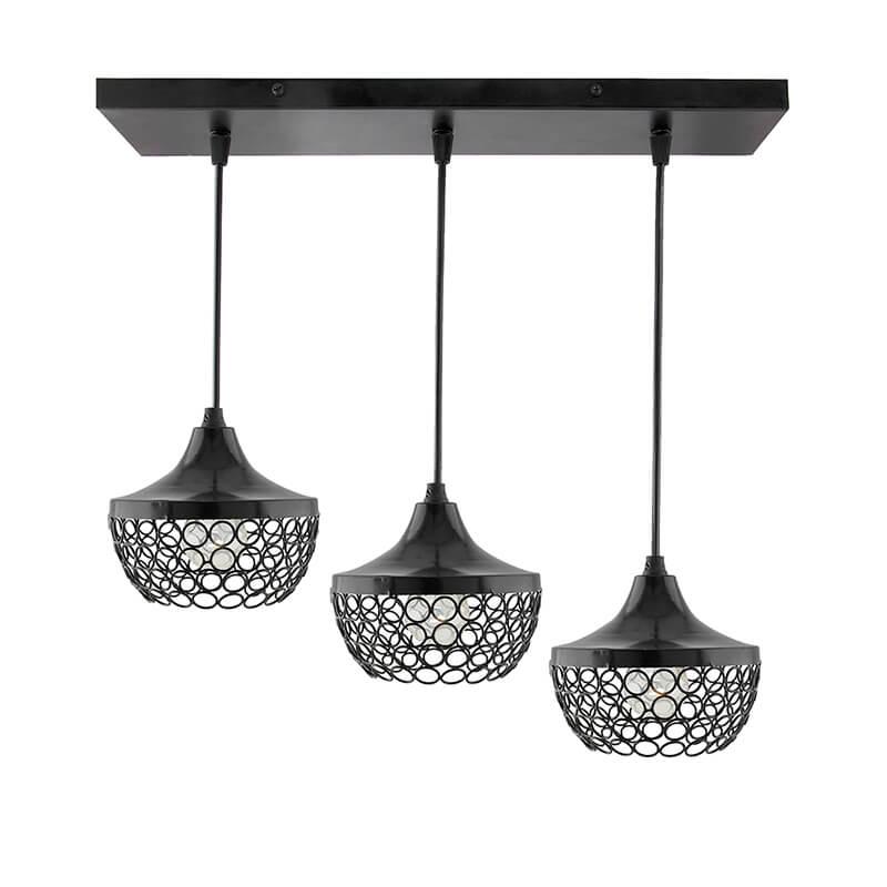 3-Lights Linear Cluster Chandelier Hanging Goblet Pendant Light, Kitchen Area and Dining Room Light