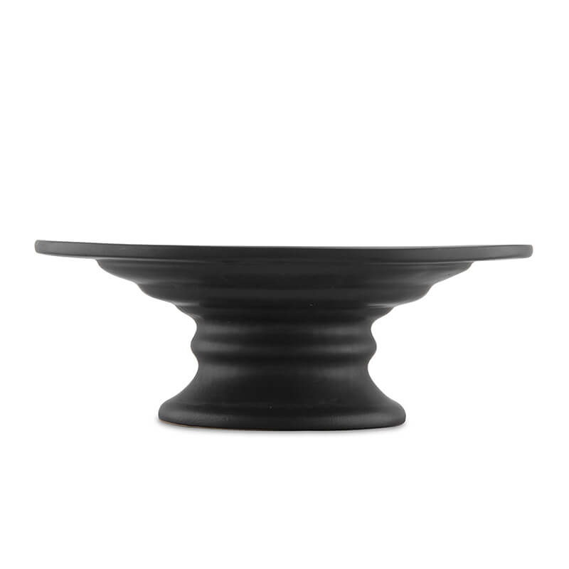 10 Inch Round Ceramic Cake and Dessert Pedestal Display Stand, Matt Black
