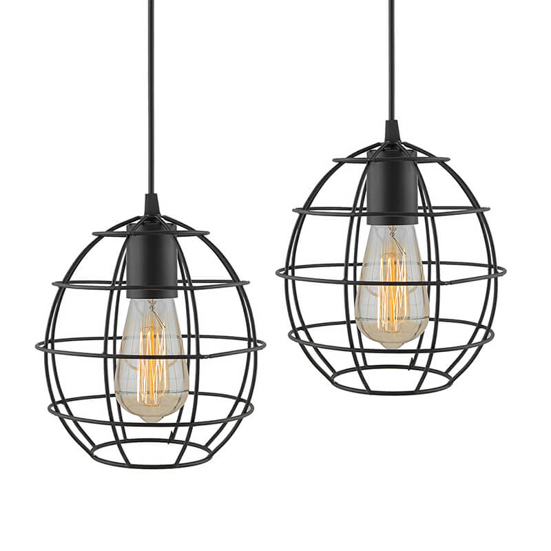 E27 Ediosn Vintage Black Metal Sphere Hanging Light , Set of 2, Pendant Ceiling Light Lamp