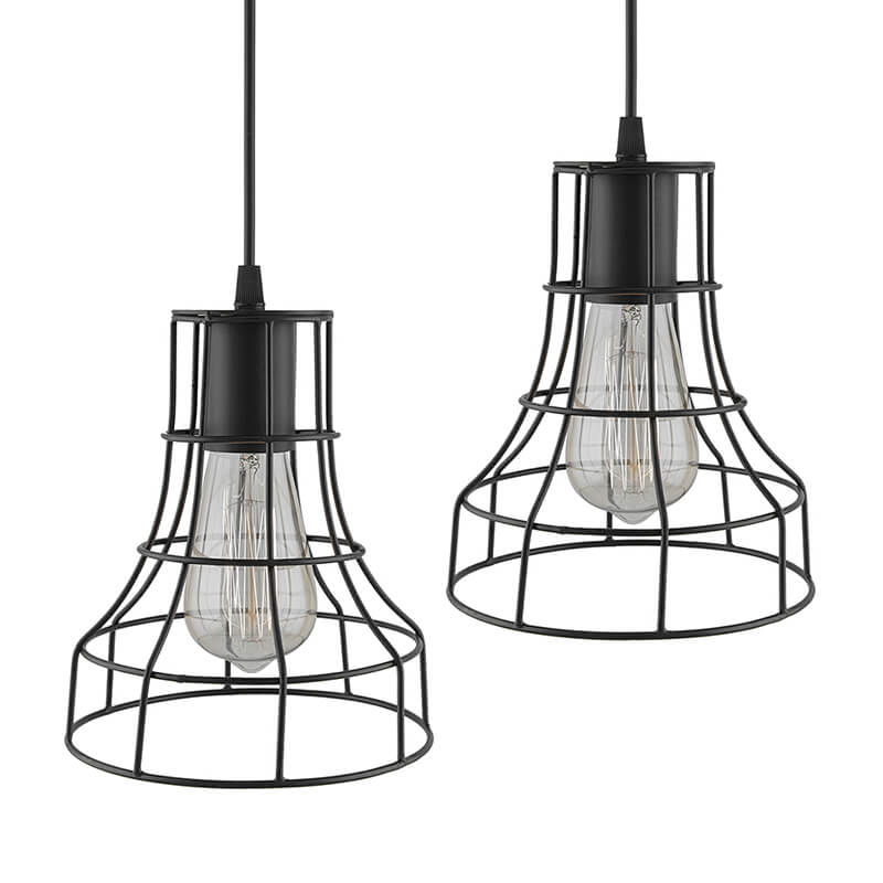 E27 Ediosn Vintage Black Metal Shade Hanging Light , Set of 2, Pendant Ceiling Light Lamp